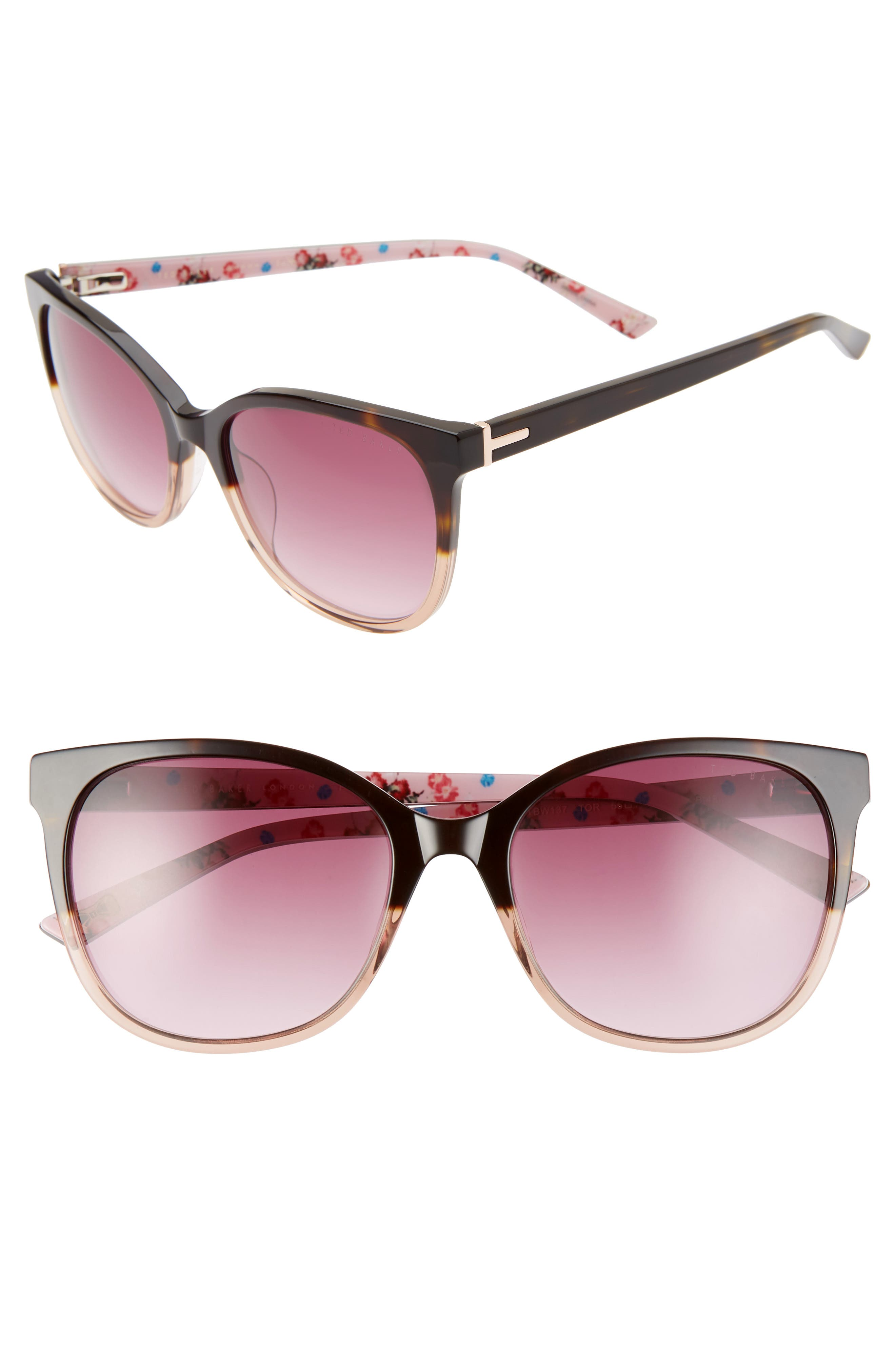 Lenses that are a nice mix of square shaped and round make these sunglasses superchic and versatile for all your looks. Style Name: Ted Baker London 55mm Sunglasses. Style Number: 5987443. Available in stores.