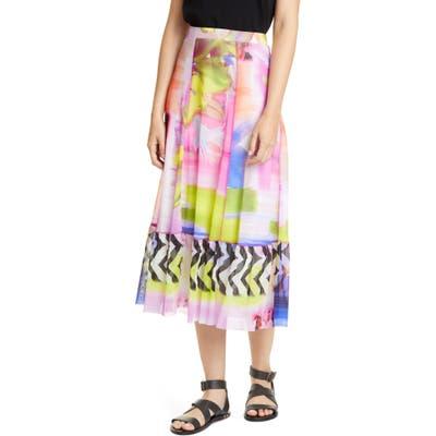 Fuzzi Floral & Chevron Print Midi Skirt, Pink