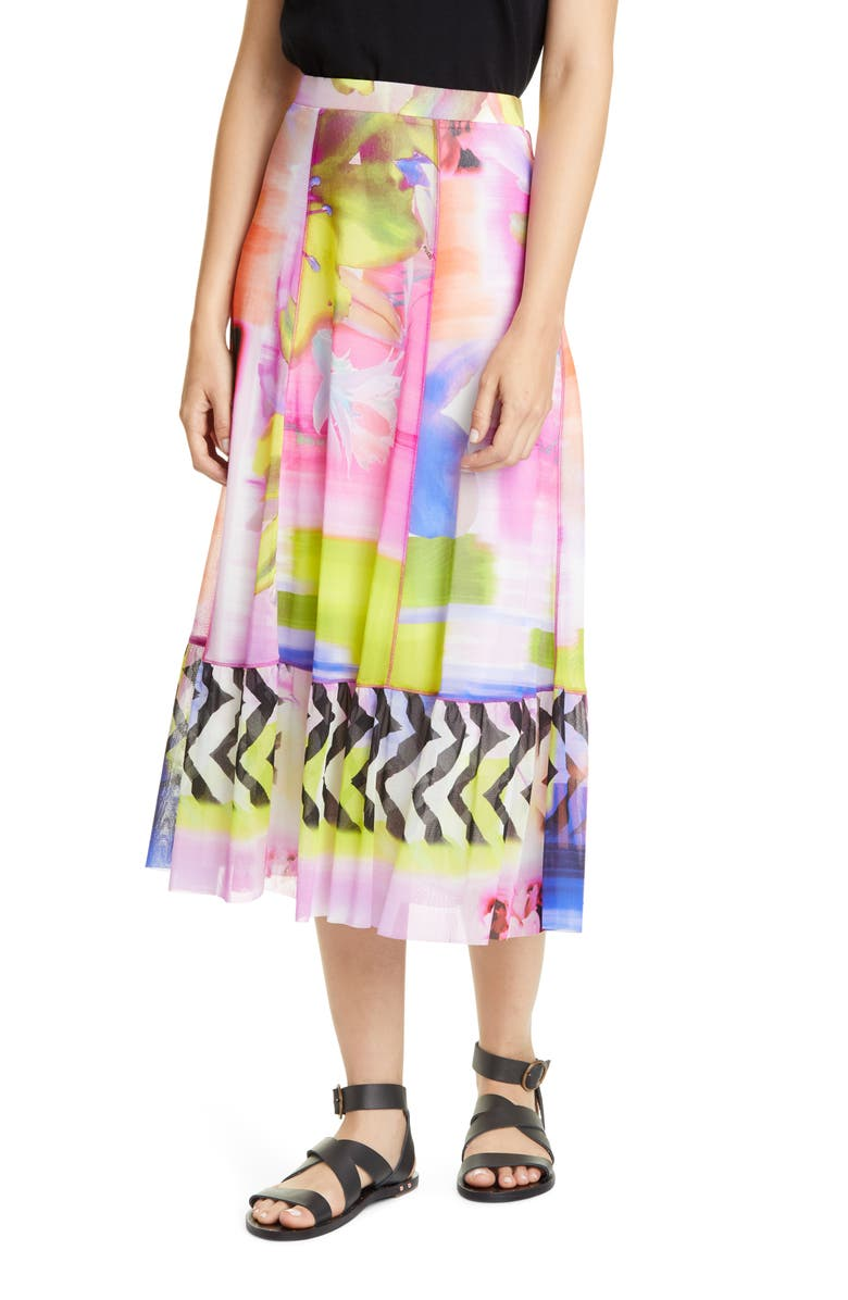 FUZZI Floral & Chevron Print Midi Skirt, Main, color, FIORE