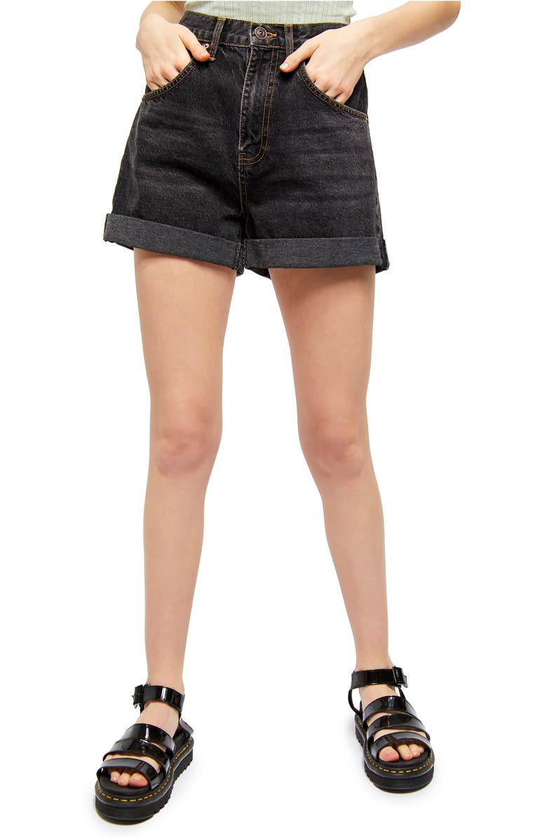 BDG URBAN OUTFITTERS Rolled Cuff Mom Shorts, Main, color, WASHED BLACK