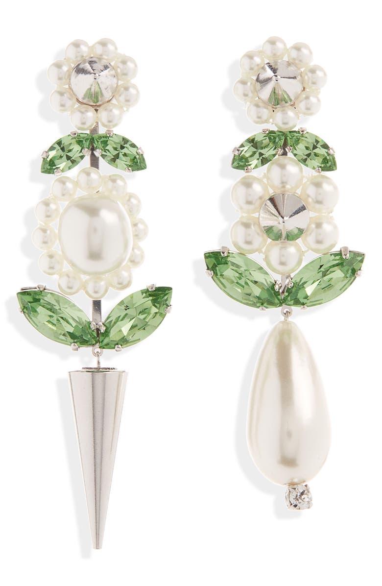 SIMONE ROCHA Spike & Imitation Pearl Drop Earrings, Main, color, 100