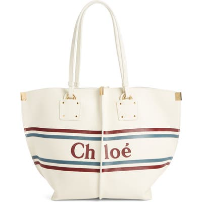 Chloe Vick Logo Embossed Leather Tote - Ivory