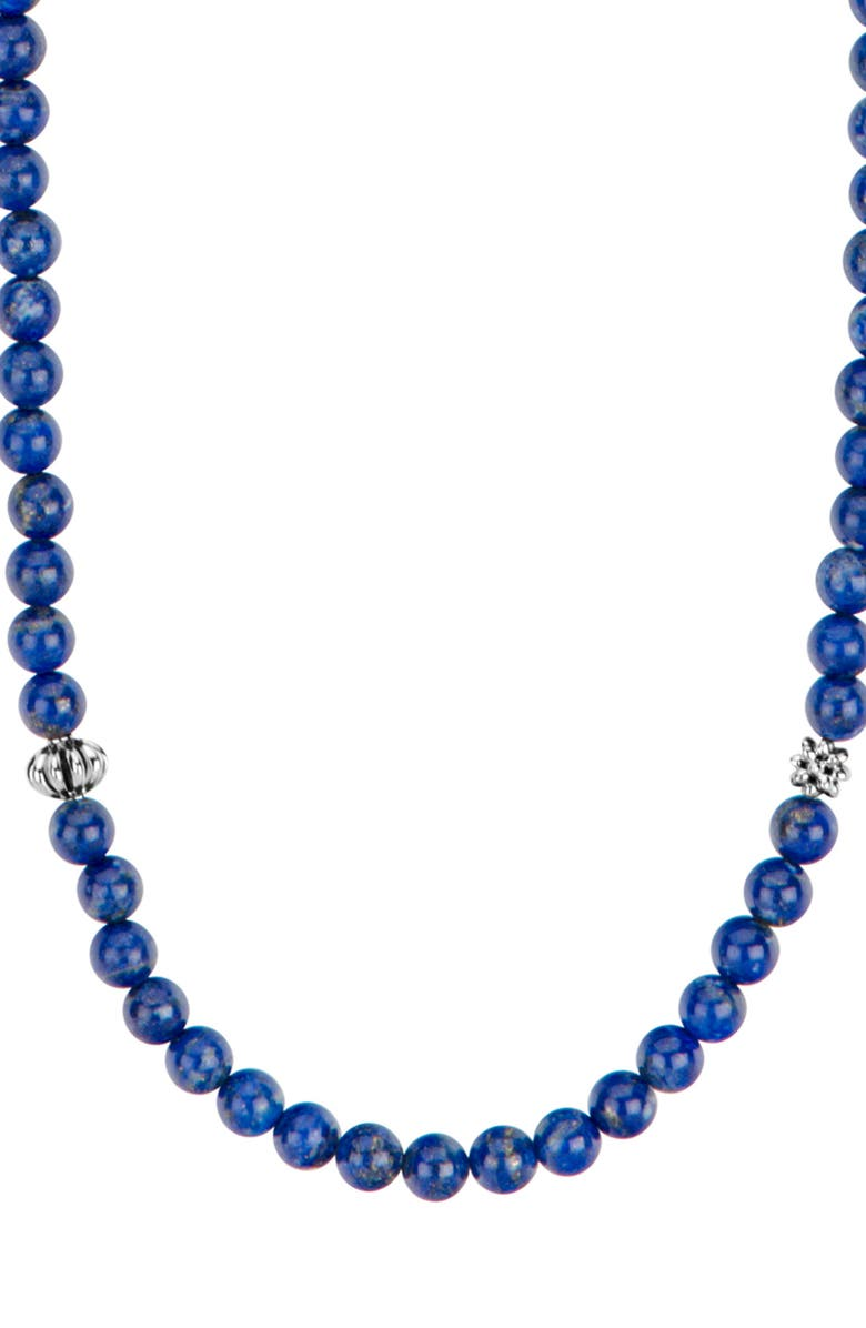 LAGOS Caviar Icon Station Semiprecious Stone Necklace, Main, color, SILVER/ LAPIS