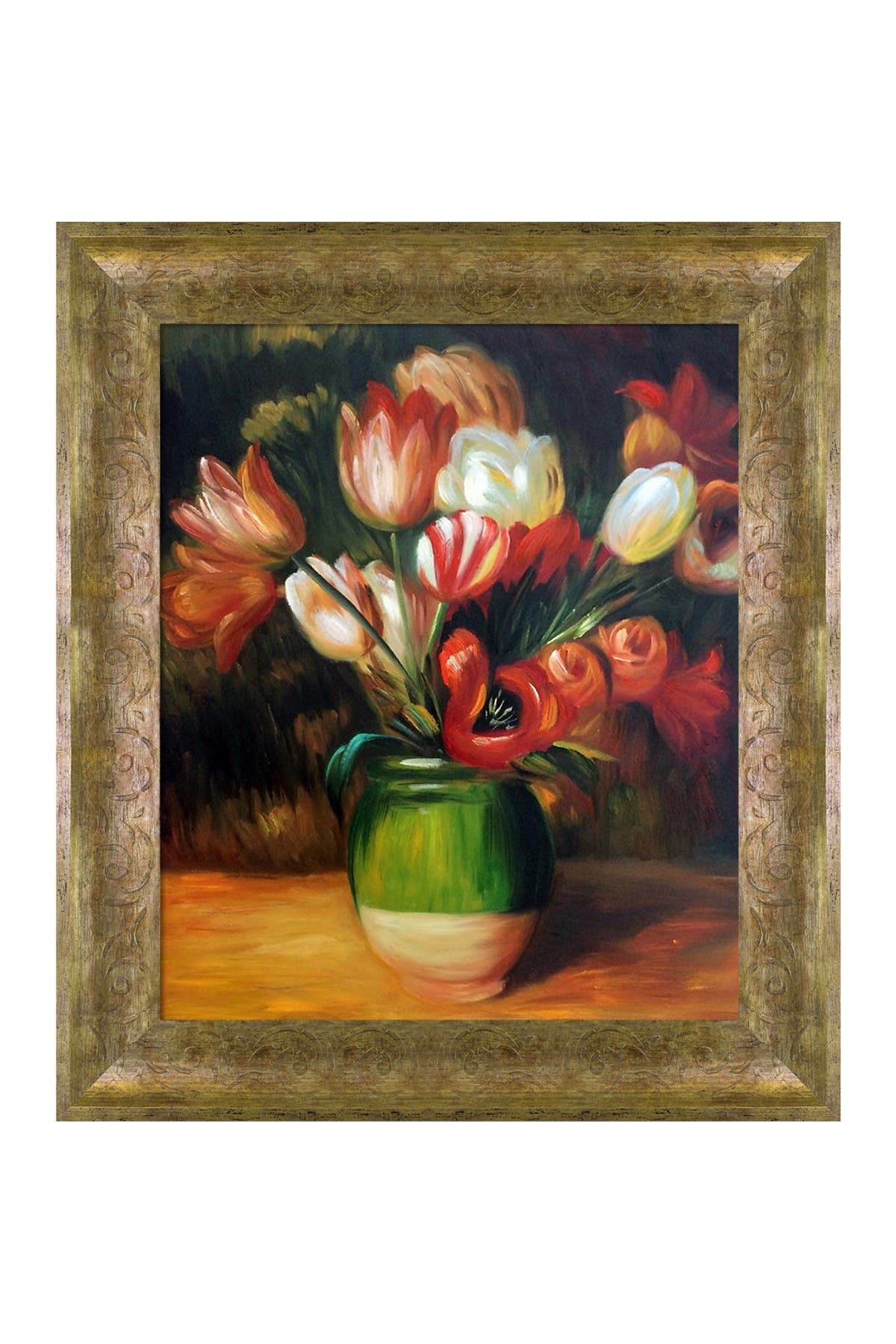 Image of Overstock Art Tulips in a Vase - Framed Oil Reproduction of an Original Painting by Pierre-Auguste Renoir