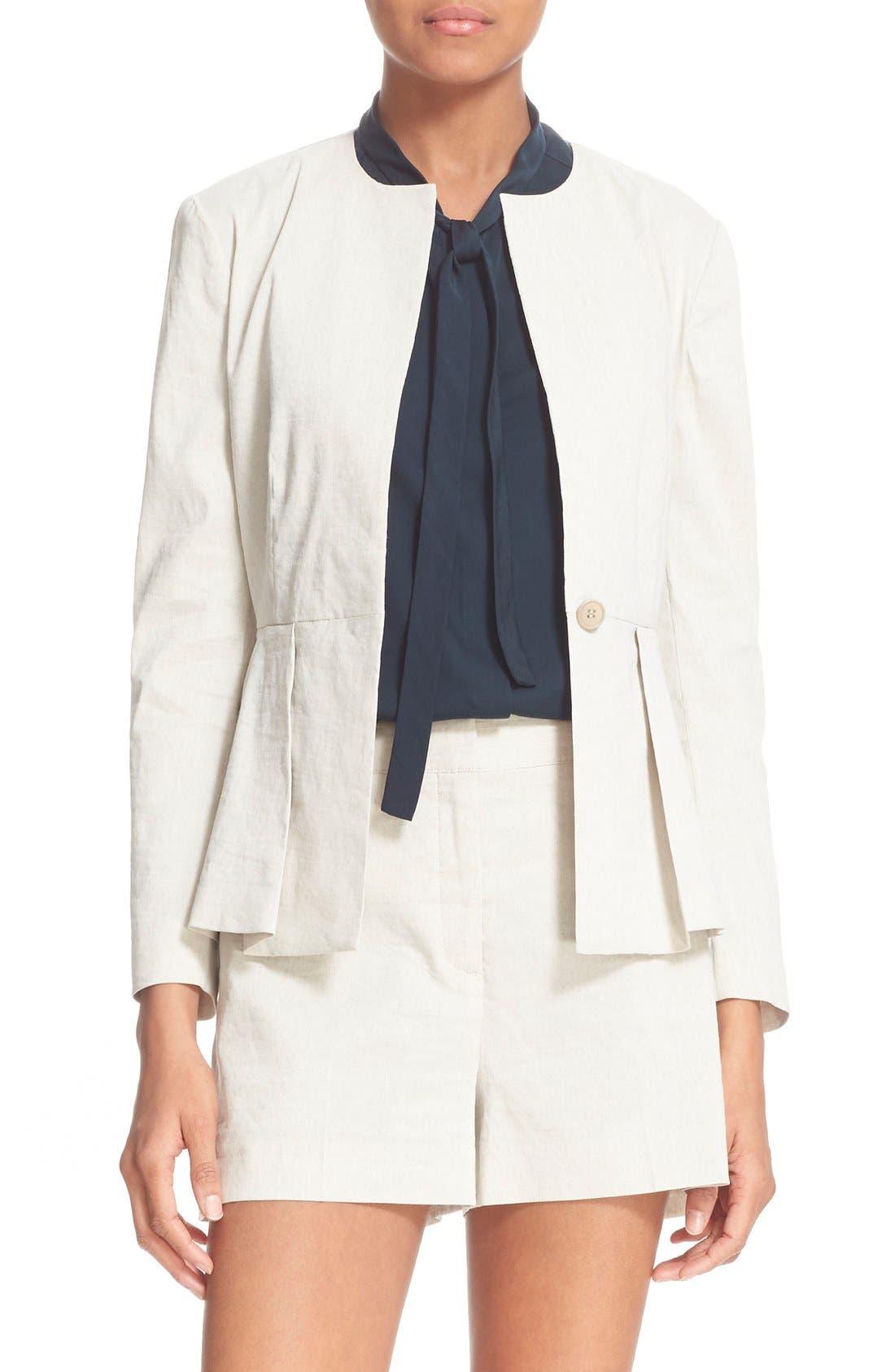 Womens Wardrobe Essentials Linen Mix Peplum Jacket