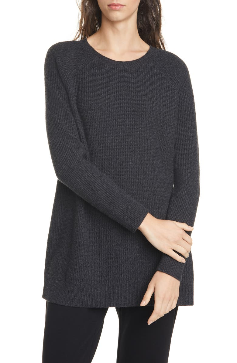 EILEEN FISHER Creweck Sweater, Main, color, CHARCOAL