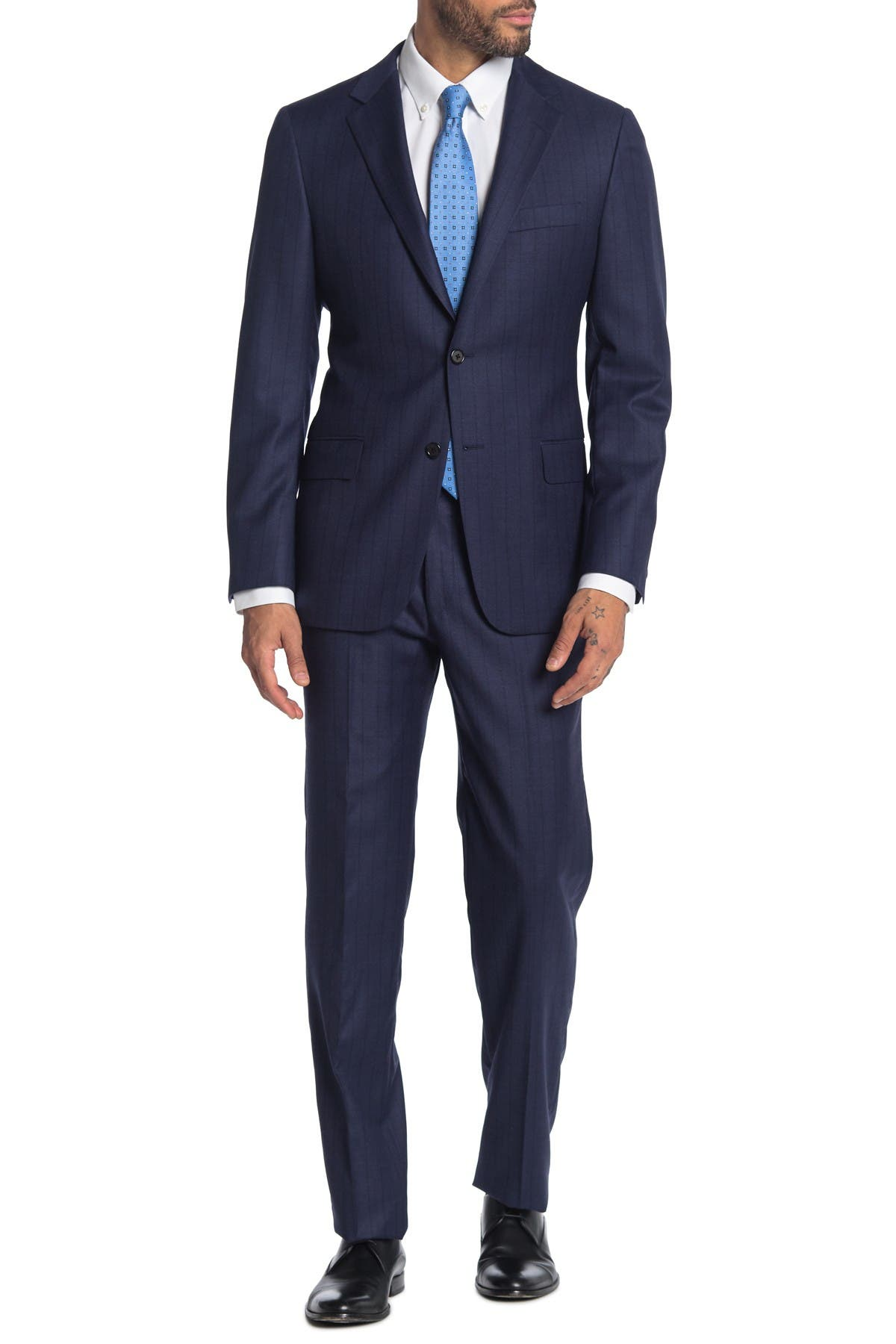 Image of Hickey Freeman Navy Stripe Two Button Notch Lapel Wool Classic Fit Suit