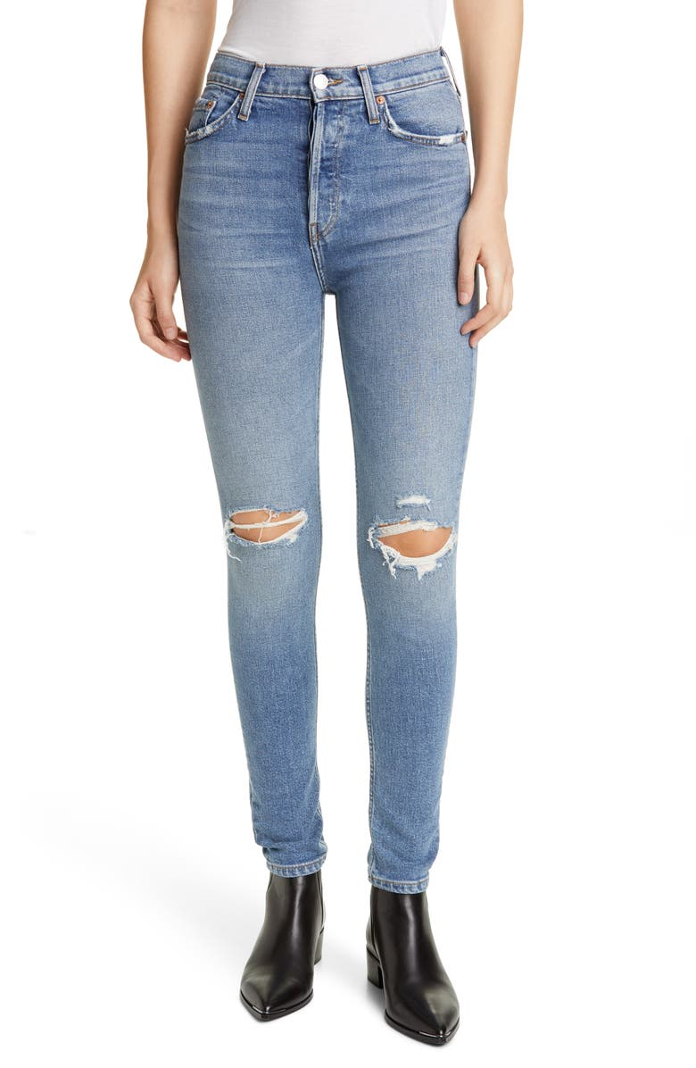 Re Done Originals Ripped High Waist Skinny Jeans Fade Away Destroy