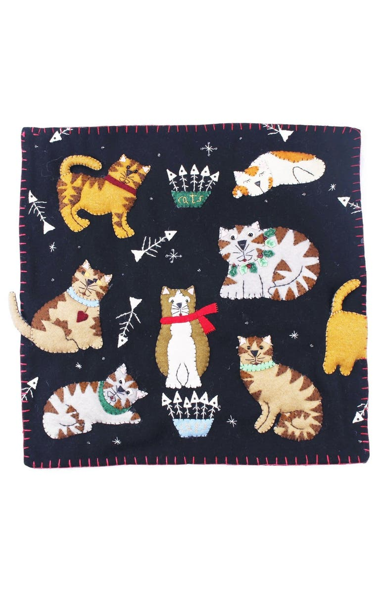 NEW WORLD ARTS Multiple Cats Pillow, Main, color, BLACK