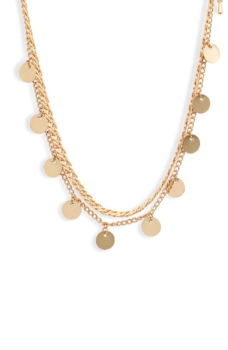 8 OTHER REASONS Get Your Sleek On Double Strand Disc Necklace, Main, color, GOLD