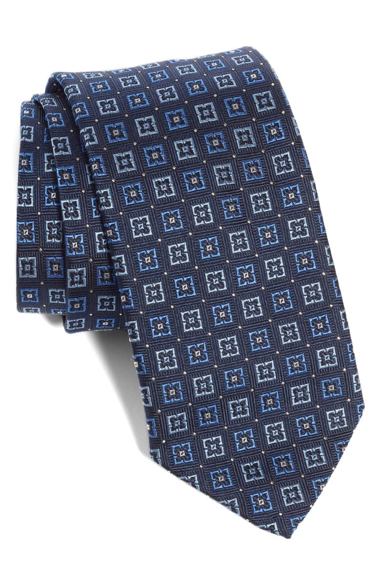 ETON Medallion Silk Tie, Main, color, NAVY