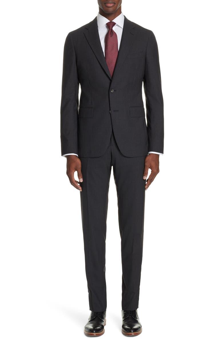 BOGLIOLI Milano Slim Fit Solid Wool Suit, Main, color, CHARCOAL