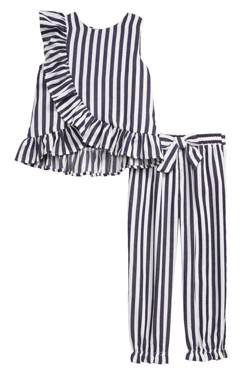 HABITUAL Ruffle Stripe Top & Pants Set, Main, color, INDIGO