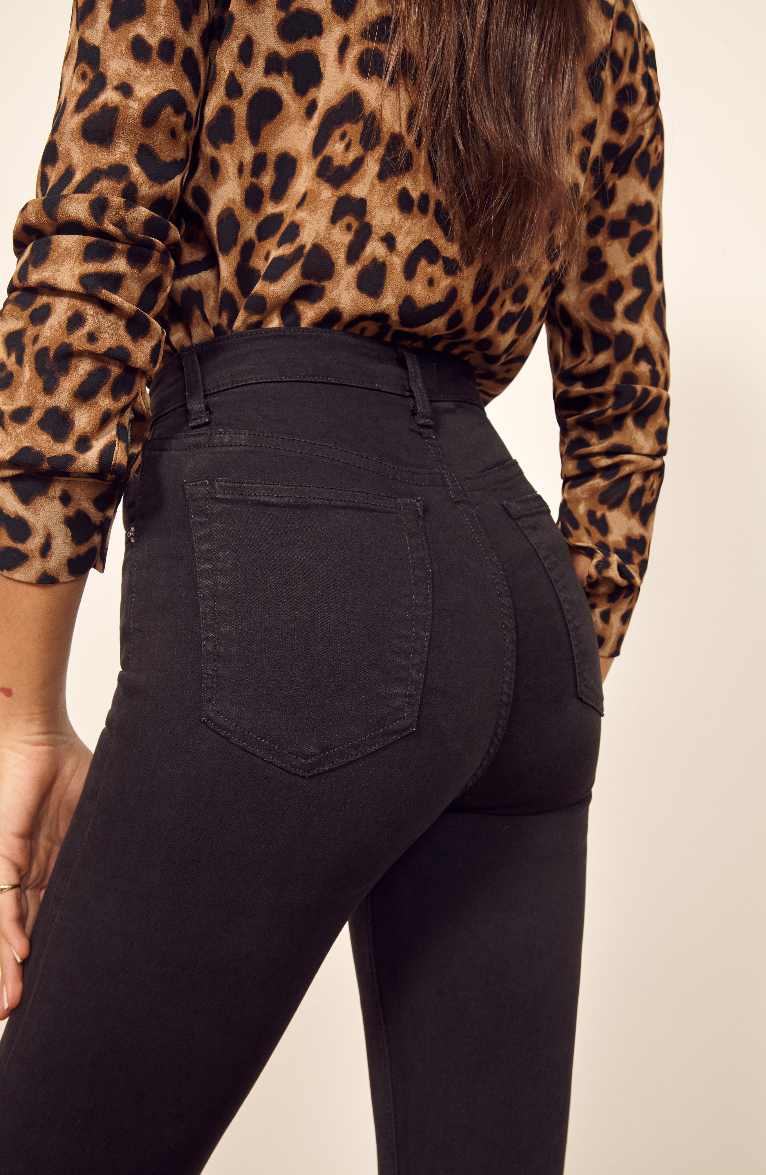,                             High & Skinny Crop Jeans,                             Alternate thumbnail 5, color,                             FADED BLACK