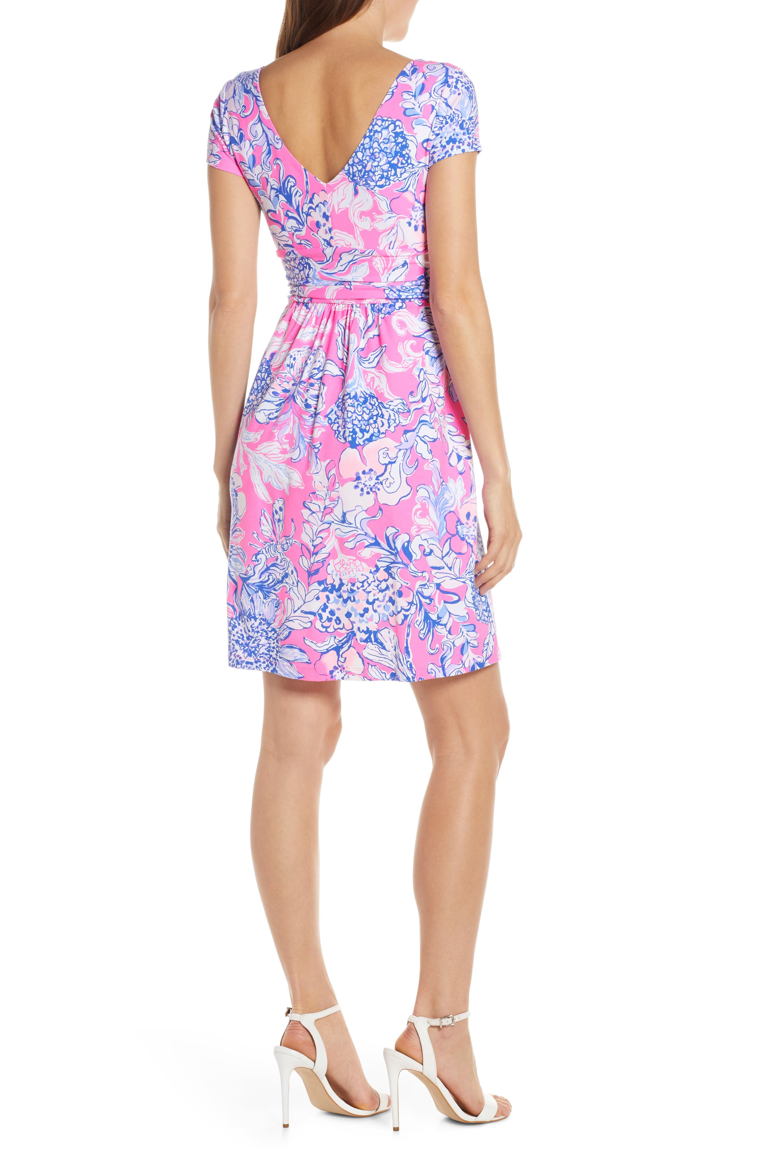 ,                             Lilly Pulizter<sup>®</sup> Winslow Print Surplice Dress,                             Alternate thumbnail 2, color,                             PINK TROPICS SUN DRENCHED