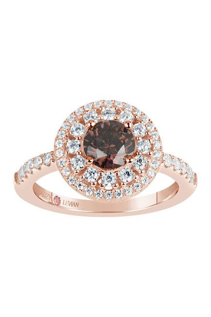 Image of Suzy Levian Round Cut CZ Pave Engagement Ring