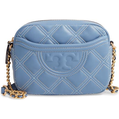 Tory Burch Fleming Quilted Leather Crossbody Bag - Blue