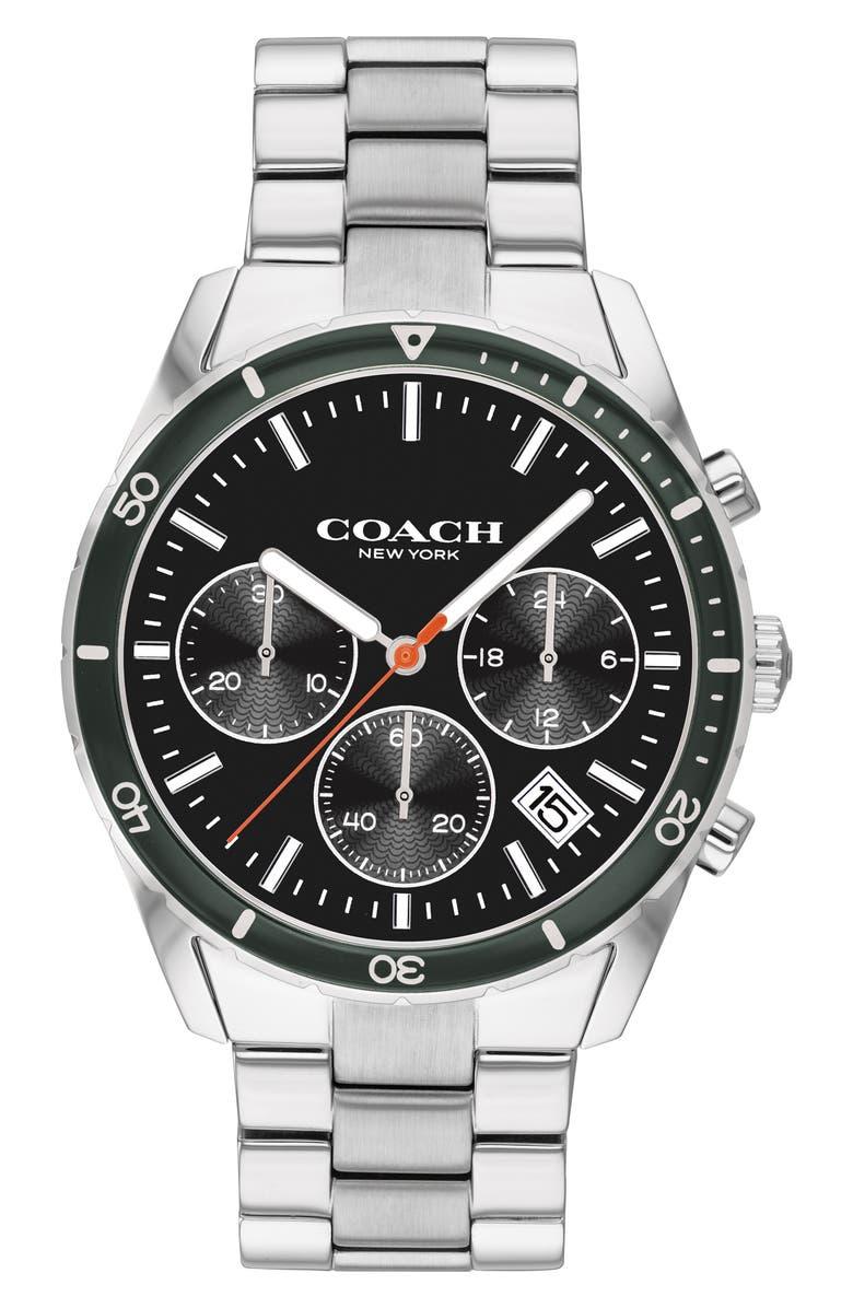 COACH Thompson Sport Chronograph Bracelet Watch, 41mm, Main, color, SILVER/ BLACK