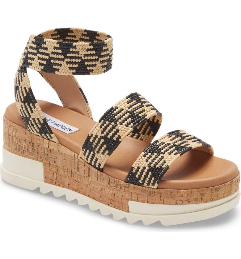 STEVE MADDEN Bandi Platform Wedge Sandal, Main, color, BLACK MULTI