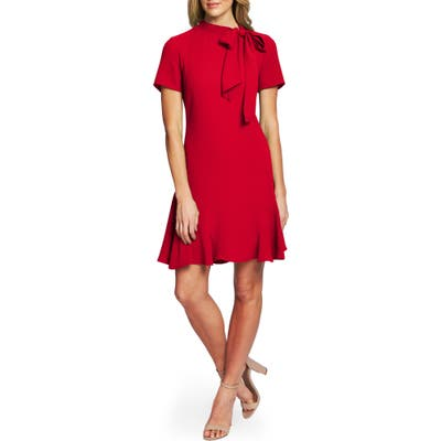 Cece Bow Neck Short Sleeve Dress, Red