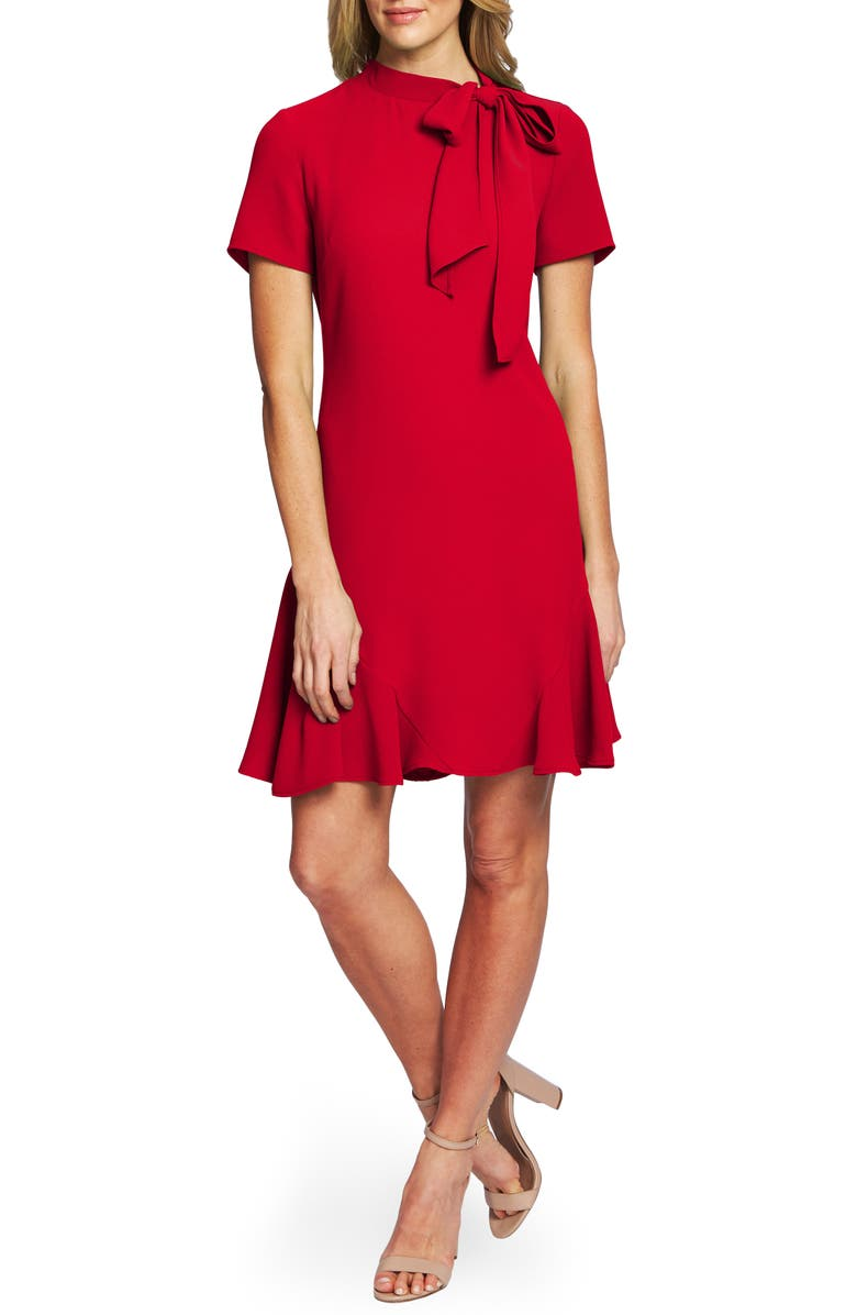 CECE Bow Neck Short Sleeve Dress, Main, color, RIBBON RED