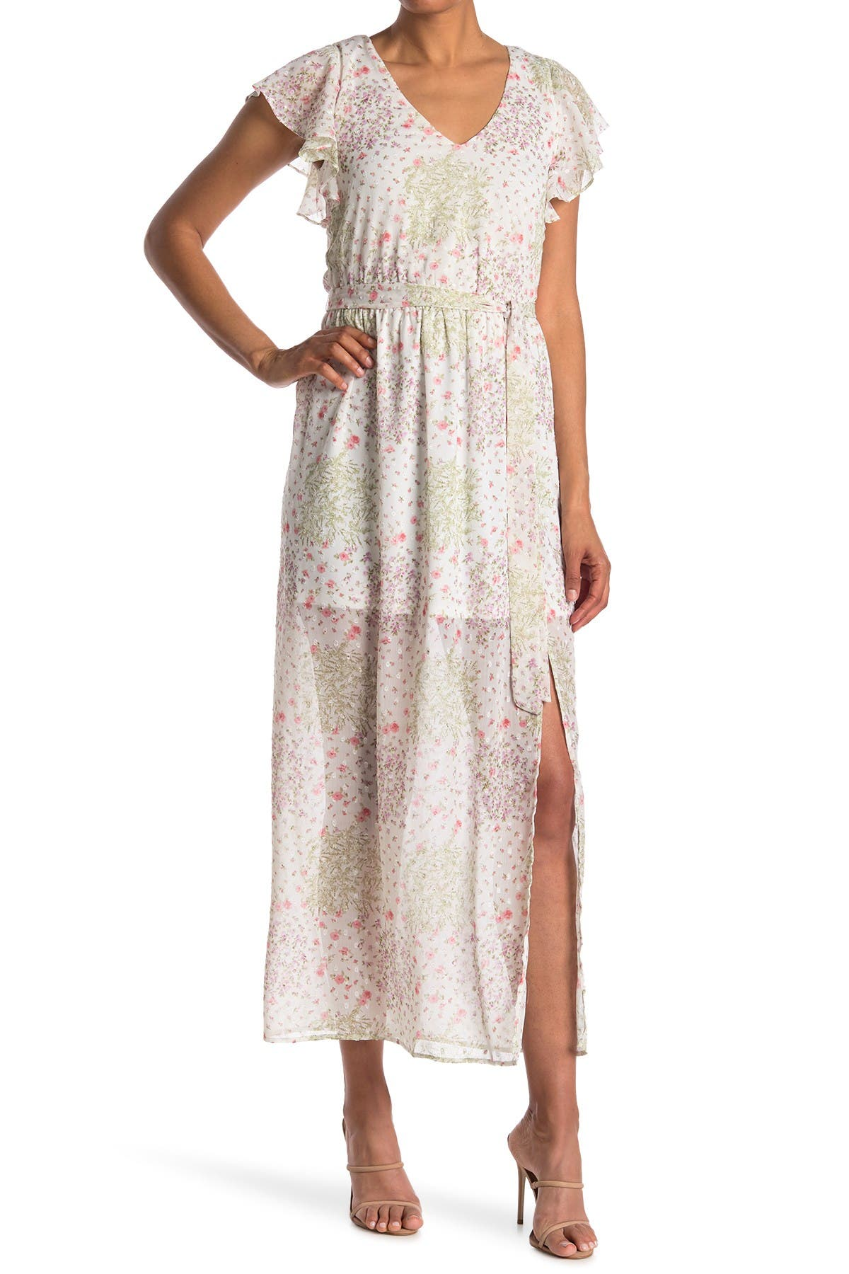 Image of KENEDIK Floral Clip Dot Short Sleeve Maxi Dress
