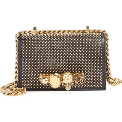 Alexander Mcqueen Mini Studded Leather Knuckle Crossbody Bag - Black