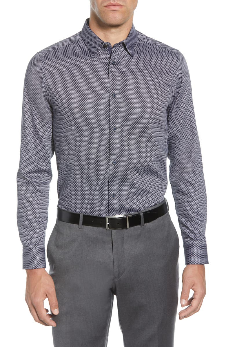 TED BAKER LONDON Chemise Slim Fit Geo Print Button-Up Shirt, Main, color, NAVY