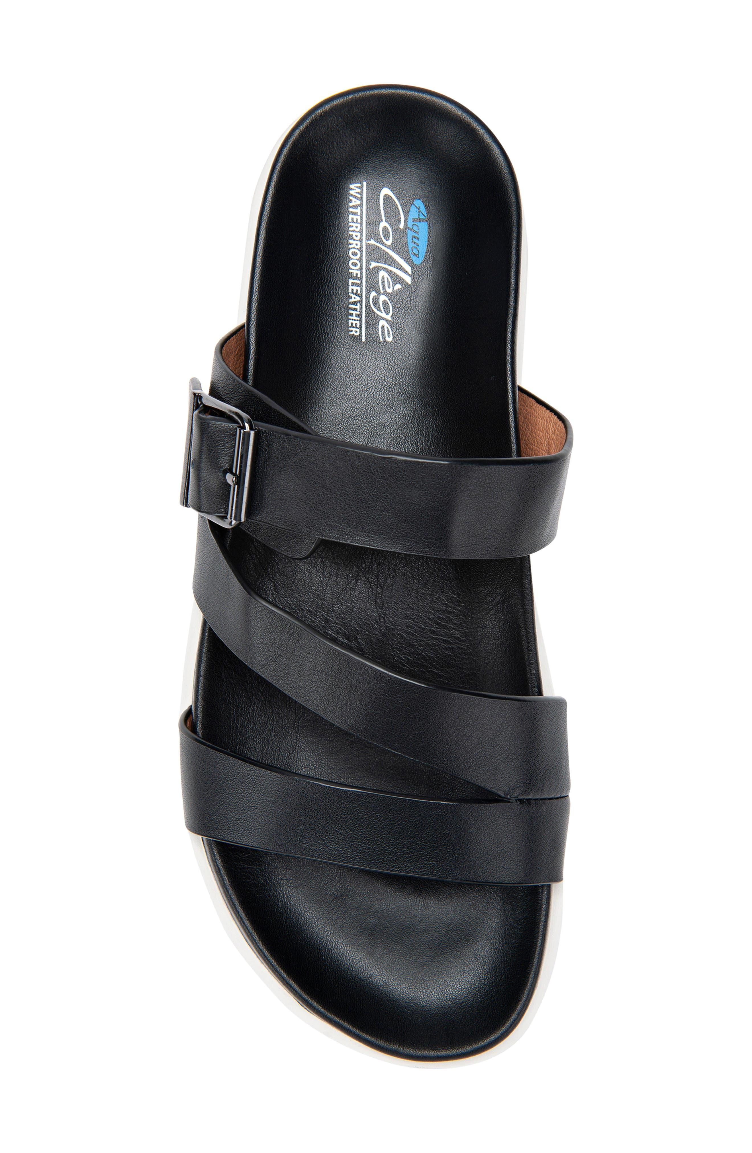 ,                             Selma Waterproof Slide Sandal,                             Alternate thumbnail 5, color,                             BLACK LEATHER