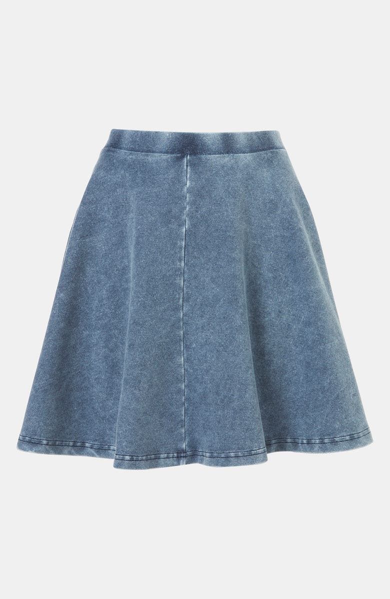 TOPSHOP 'Andie' Denim Skater Skirt, Main, color, 400