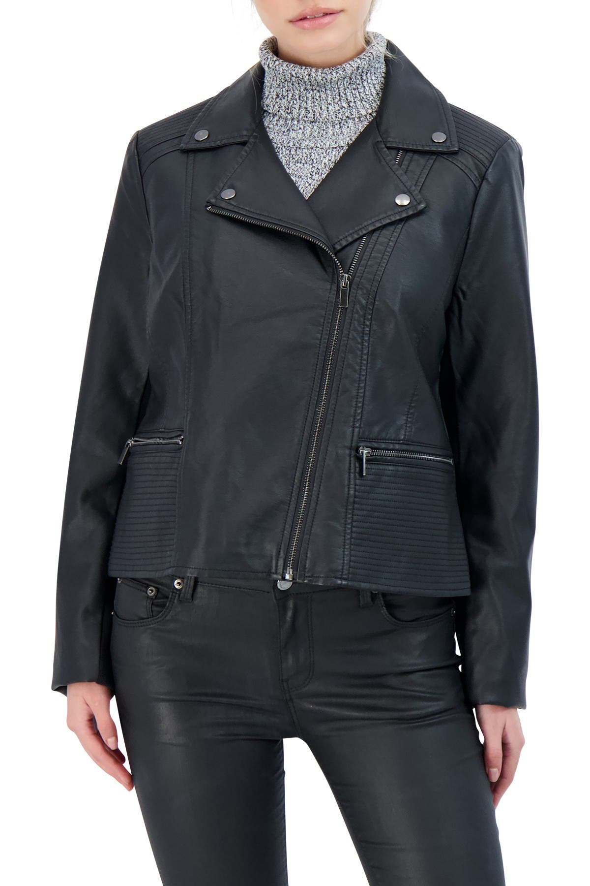 Image of Sebby Collection Faux Leather Biker Jacket