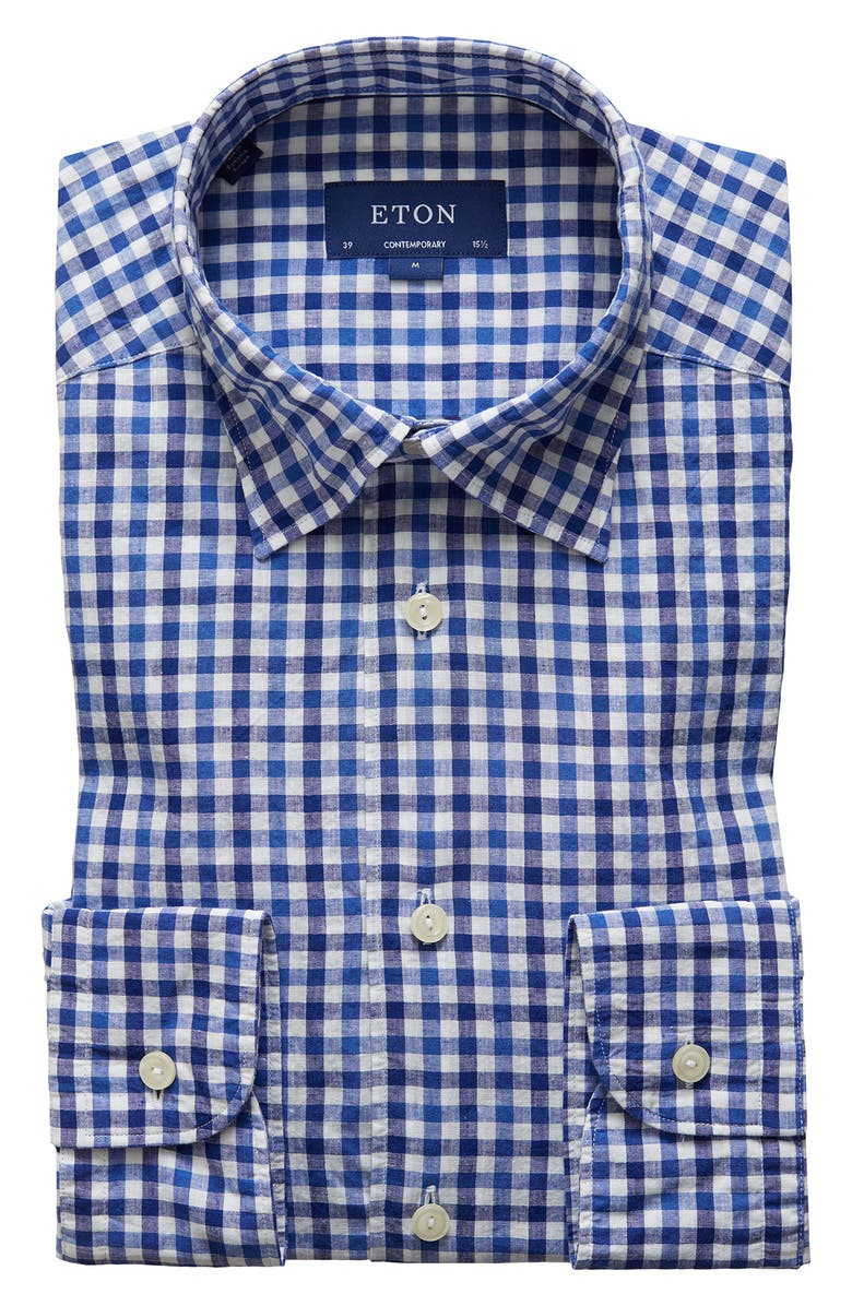 ETON Soft Collection Contemporary Fit Cotton & Linen Check Dress Shirt, Main, color, BLUE