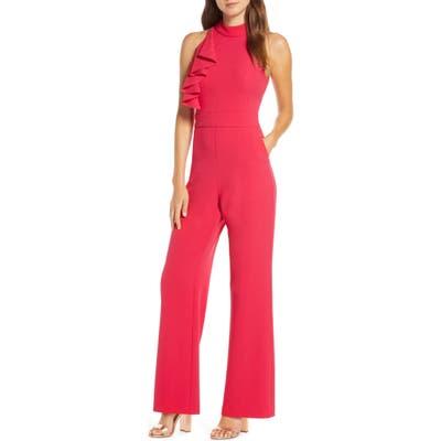 Eliza J High Neck Wide Leg Crepe Jumpsuit, Pink