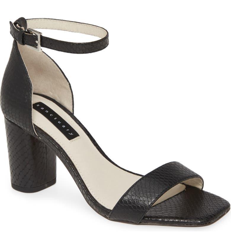 SANCTUARY Strut Sandal, Main, color, BLACK LEATHER