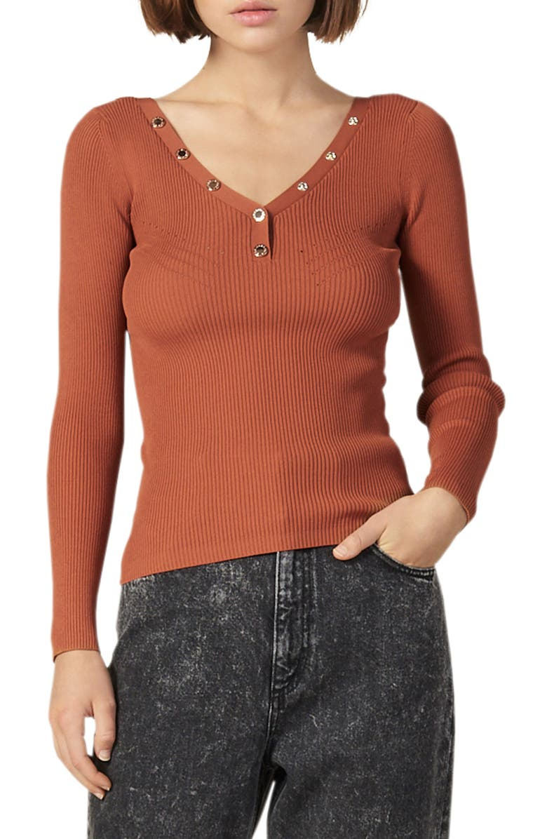 SANDRO Justy Ribbed Sweater, Main, color, TERRACOTTA