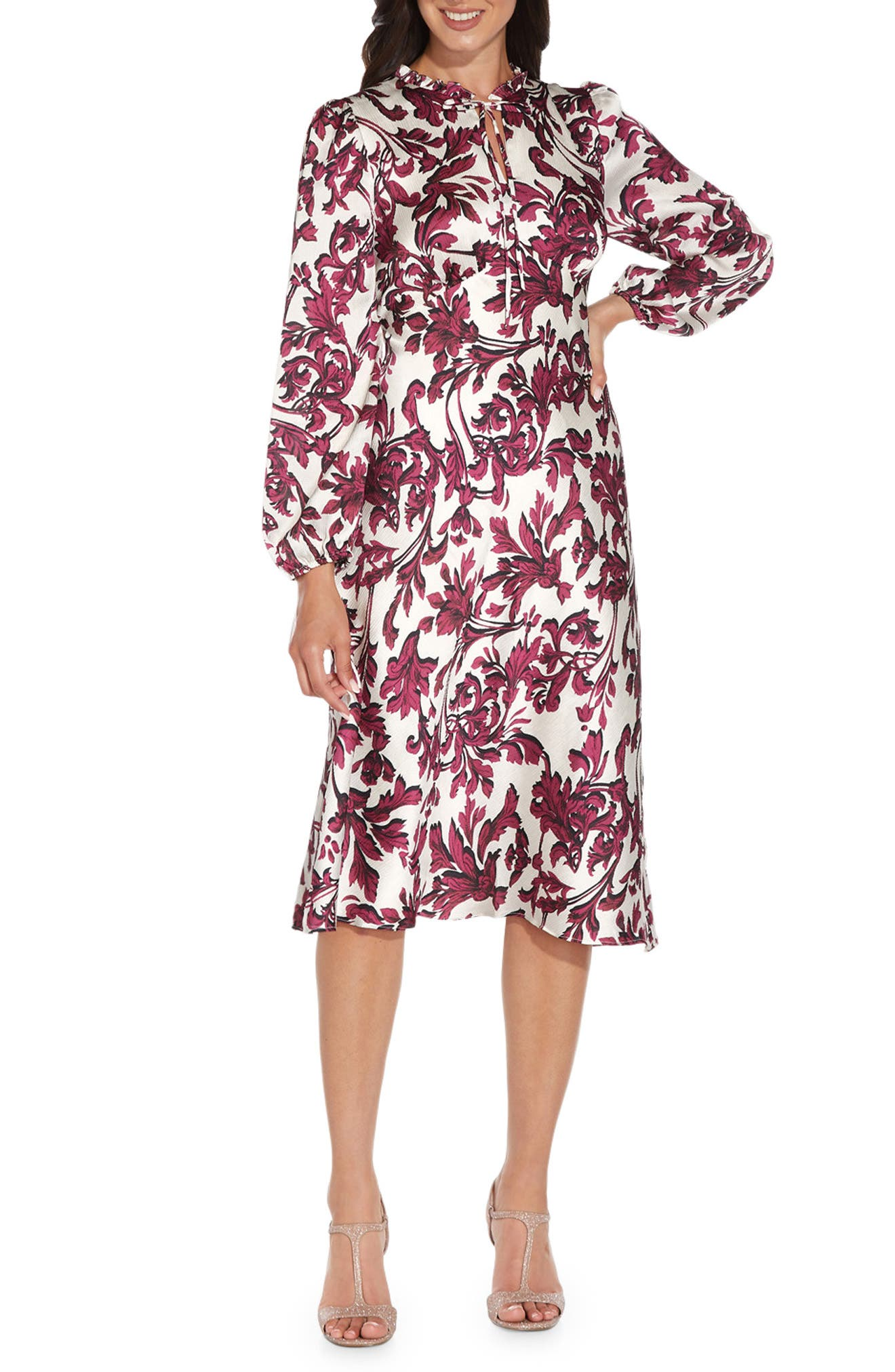 Long Sleeve Bias Satin A-Line Dress
