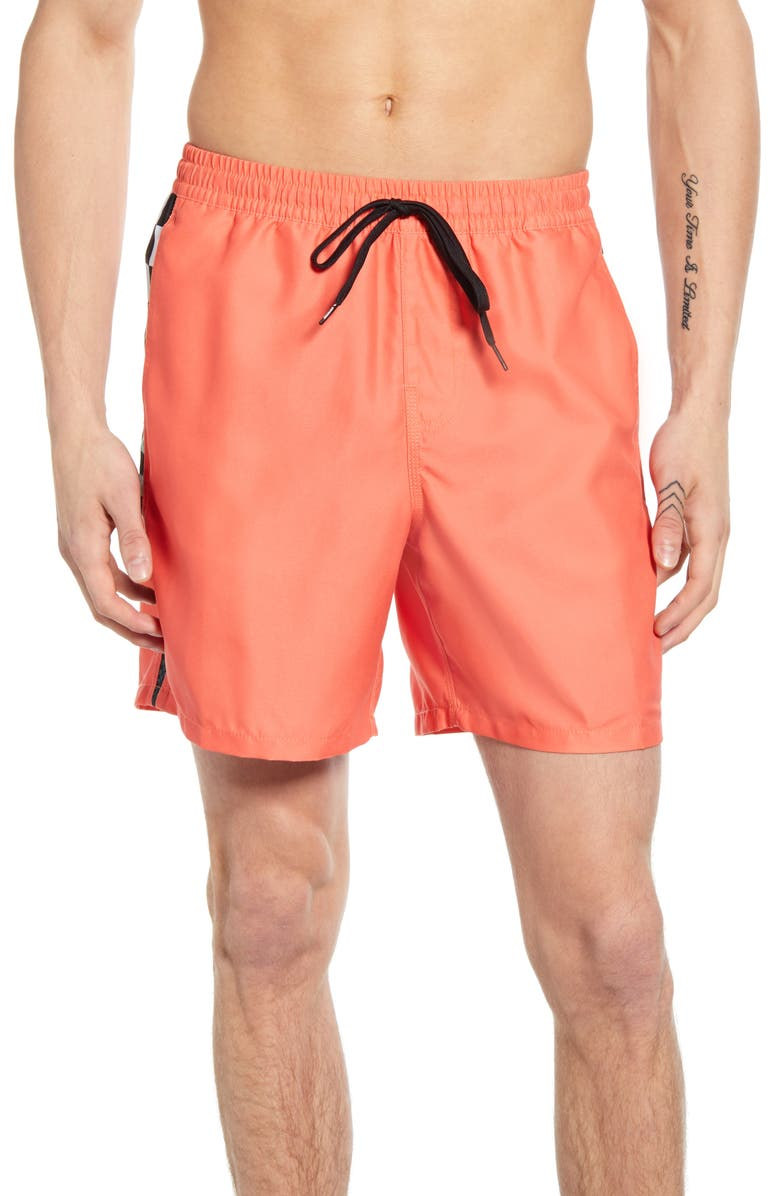 VANS V-Panel Volley Swim Trunks, Main, color, EMBERGLOW