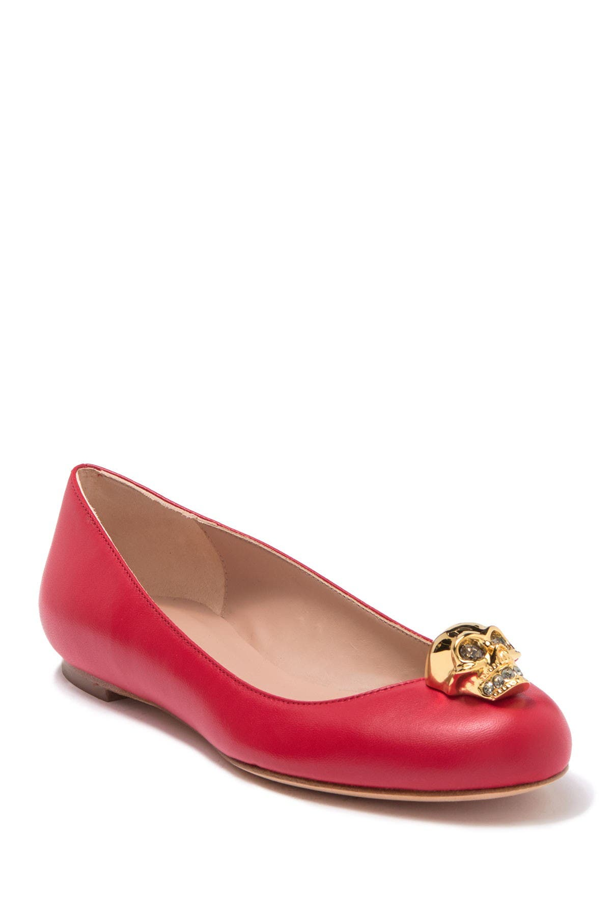 Image of Alexander McQueen Skull Accent Leather Flat