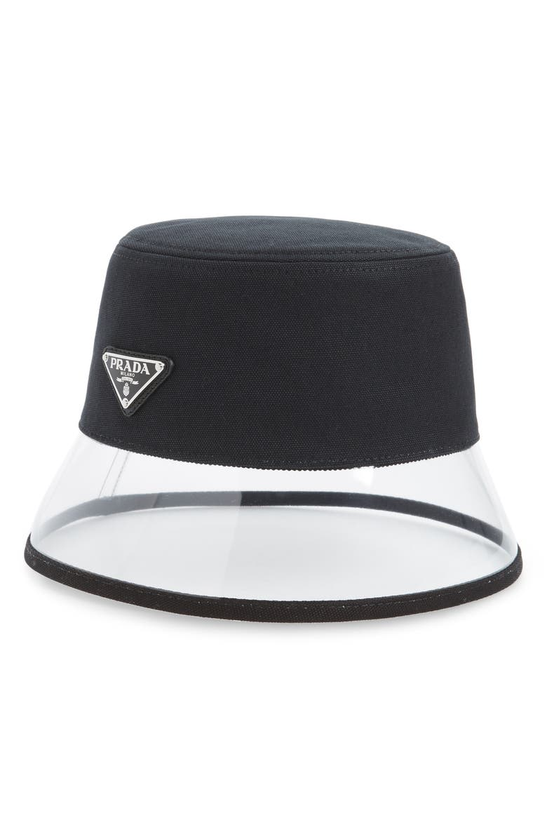 PRADA Clear Brim Bucket Hat, Main, color, 001