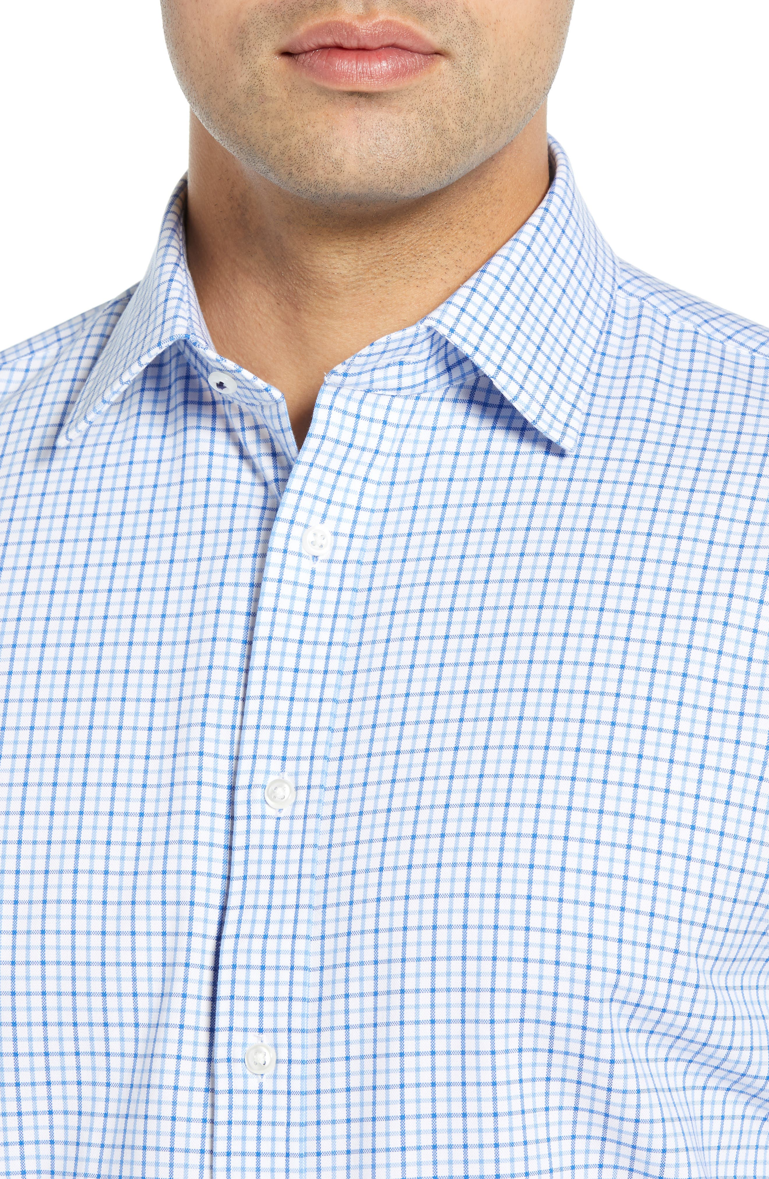 ,                             Tech-Smart Traditional Fit Check Stretch Dress Shirt,                             Alternate thumbnail 2, color,                             BLUE VICTORIA
