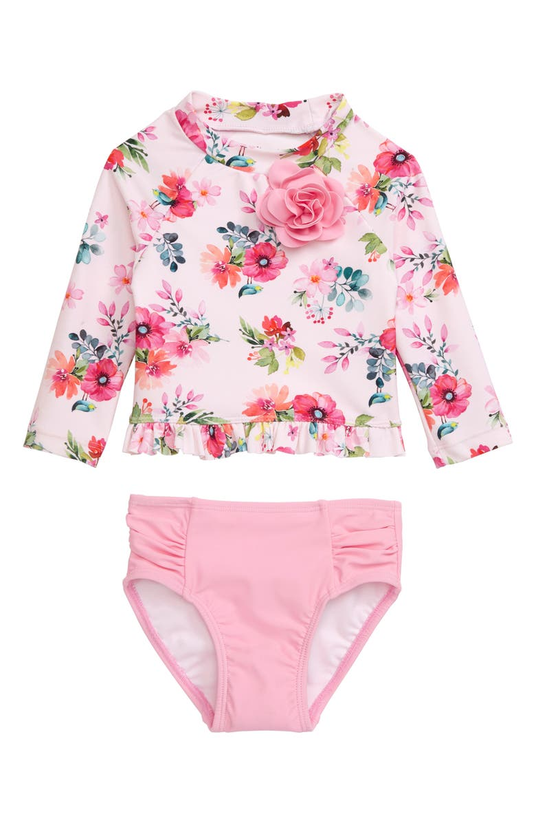 LITTLE ME Watercolor Floral Rashguard & Bikini Bottoms, Main, color, PINK