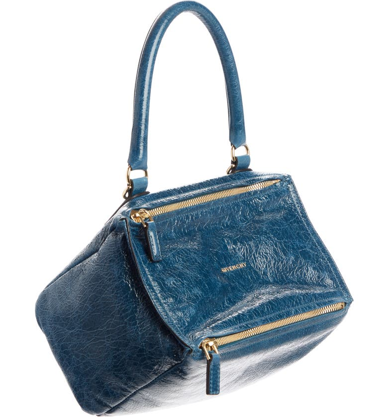 GIVENCHY Small Pandora Creased Patent Leather Shoulder Bag, Main, color, OIL BLUE