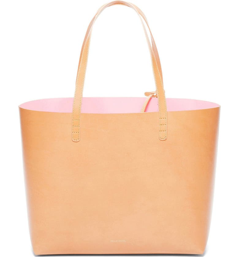 MANSUR GAVRIEL Large Leather Tote, Main, color, CAMMELLO/ ROSA