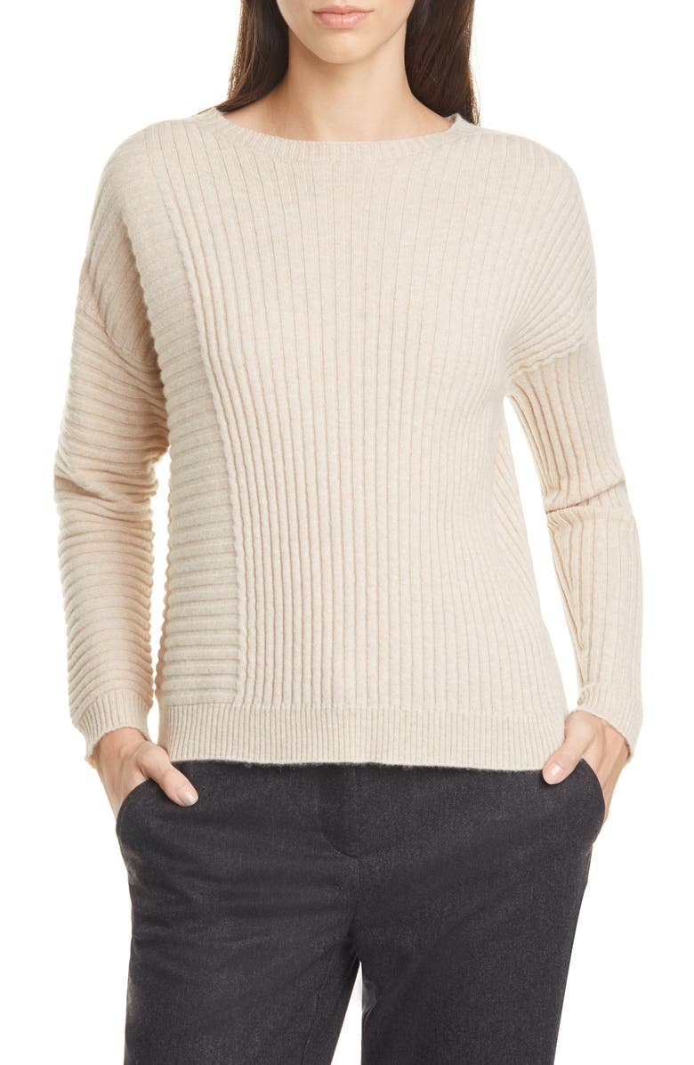 EILEEN FISHER Bateau Neck Ribbed Cashmere Sweater, Main, color, MAPLE OAT