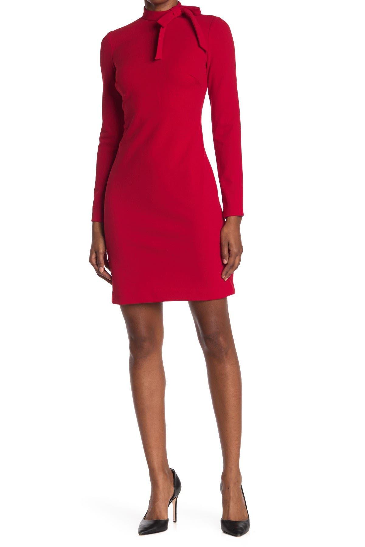 Image of Calvin Klein Tie Neck Long Sleeve Dress