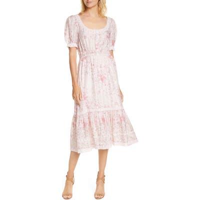 Loveshackfancy Floral Print Silk Midi Dress, Pink