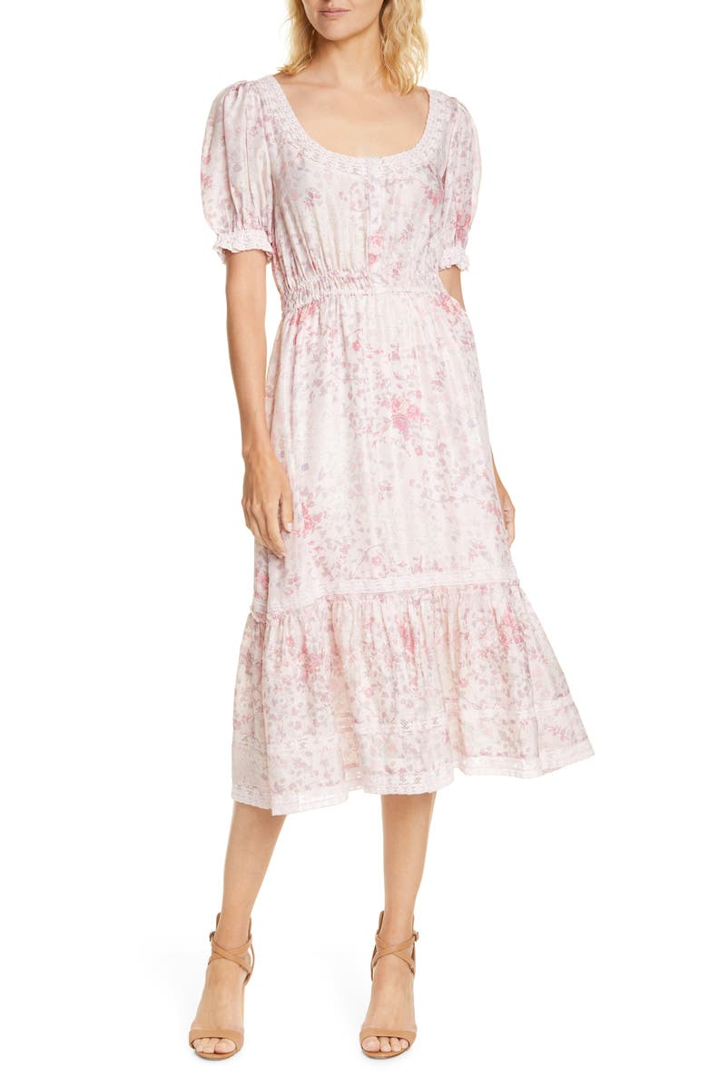 LOVESHACKFANCY Floral Print Silk Midi Dress, Main, color, PINK FLOWER BED