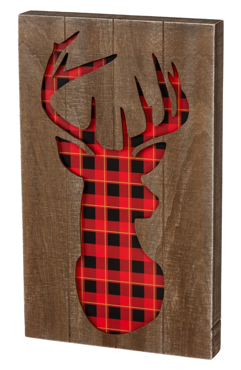 PRIMITIVES BY KATHY Deer Cutout Wooden Box Sign, Main, color, RED