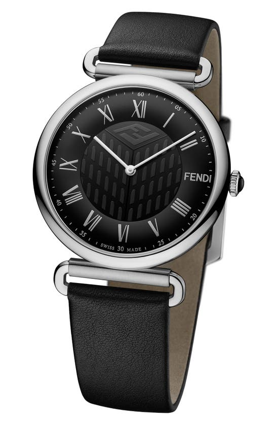 Fendi STAINLESS STEEL LEATHER STRAP WATCH, 41MM