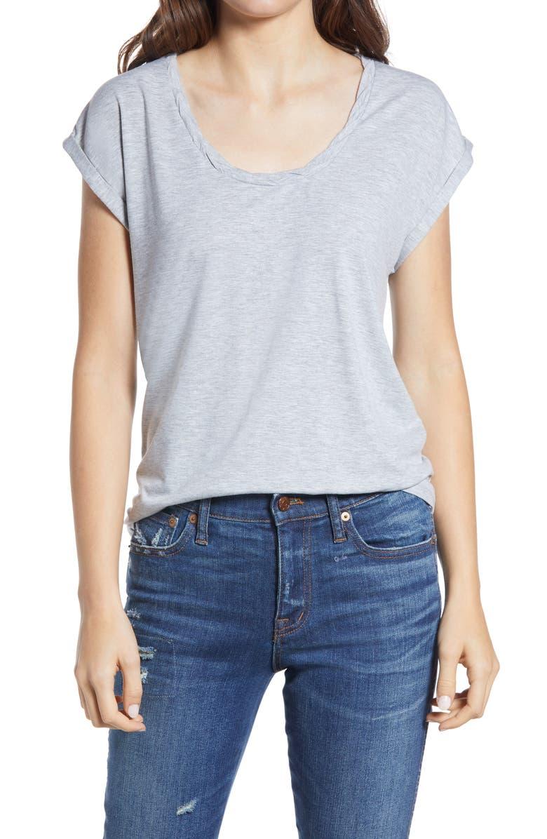 TREASURE & BOND Twist Detail T-Shirt, Main, color, GREY LIGHT HEATHER